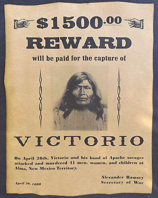 Victorio Wanted Poster, Western, Old West, Indian, Alma Massacre, New Mexico