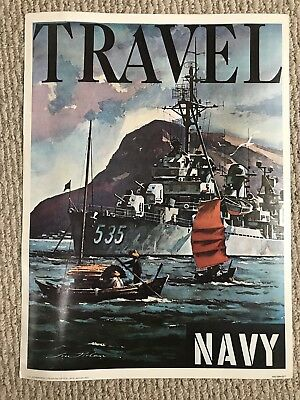 US Government Navy Recruiting Poster Original Travel Vintage Military 1970s