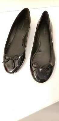 dae97b08607f6 ZARA Trafaluc Ballet Flat shoes Size 38 Black patent leather look. Bow tie