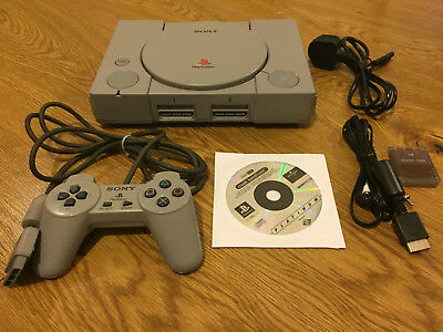 Playstation 1 PS1 PSX Console + Gamepad + Memory Card + AV Power Cable + CD