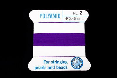 Amethyst Griffin Nylon Size 2 Needle End Bead Cord #CGF105