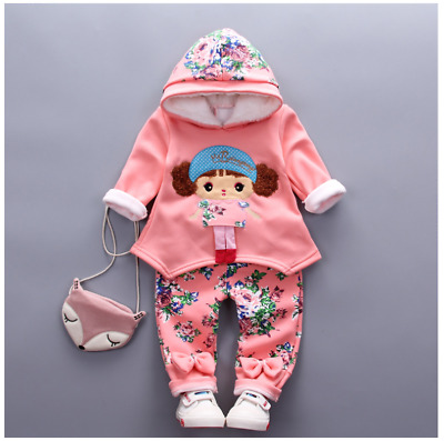 Toddler Girls 2PCs Floral Cute Outfit Tracksuits Set Sport Casual Size 0-3 Years