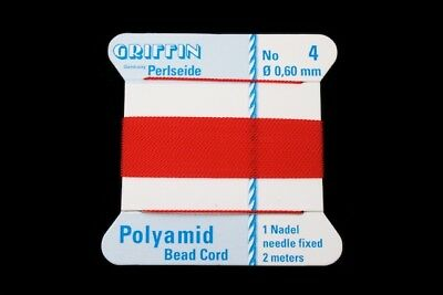 Red Griffin Nylon Size 4 Needle End Bead Cord #CGF208