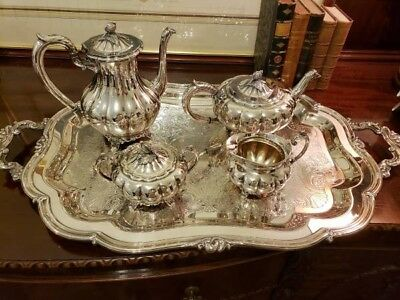 Silver Plate 4 pc. Coffee/Tea Set with Tray