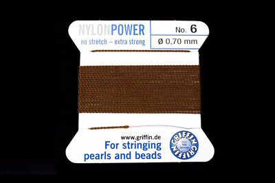 Brown Griffin Nylon Size 6 Needle End Bead Cord #CGF307