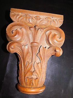 Antique Hand Carved Wooden Corbel - Curved Leaf Scroll Ray Pattern - Unique