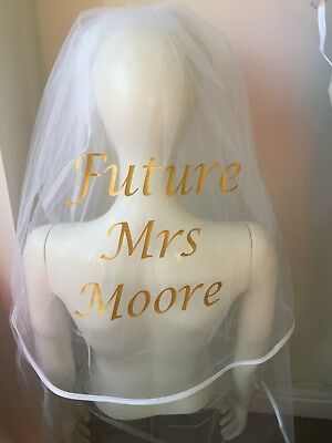 Personalised Veil Antique Silver/Gold Stunning Classy Hen Party Bride Best Price