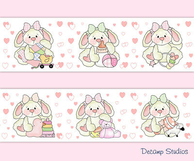 Woodland Bunny Nursery Baby Girl Wallpaper Border Pink Hearts Wall Art Stickers