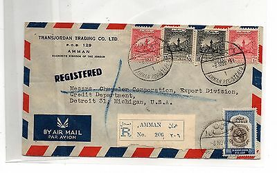 MIDDLE EAST JORDAN POSTALLY USED Cover to USA FRANKING STAMPS LOT (JOR - 014)