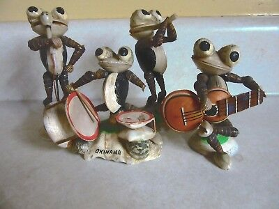 """vtg shell frog band, okinawa war time figurines-3 1/2"""" to 4 1/2""""- drums,horn, +"""
