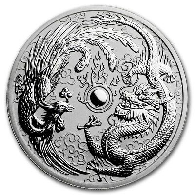 Silver Coin Australia Dragon and Phoenix 2017 - 1 oz 99.99 % pure silver