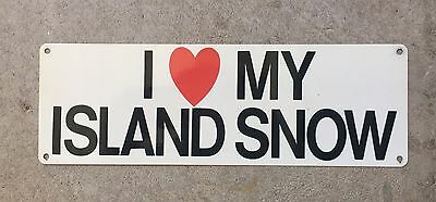 I Love My Island Snow Hawaii Shaved Ice Surf Surfing Vintage Poster Metal Sign