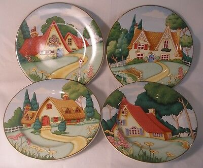 Set Of 4 Mary Engelbreit Plates entitled Mary's Cottages made by Sakura.