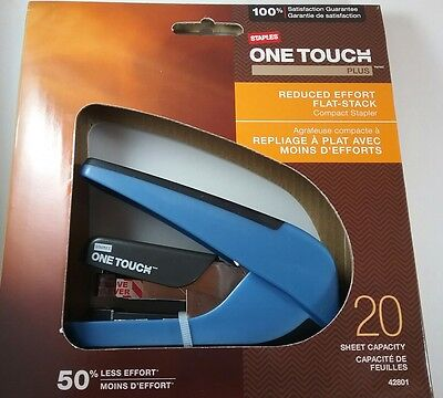 New! Staples One Touch Plus Stapler Color Blue! Free Ship! 20 Sheet Capacity!