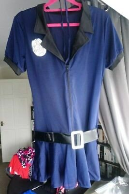 Blue Police woman's dress up outfit 2XL with belt and thong!