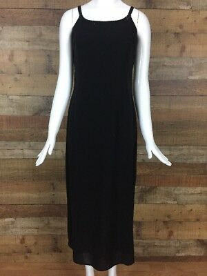 54057fc55b8a Petite Sophisticate Silk Cocktail Dress Size 4 Black Beaded Spaghetti Straps