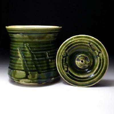 Japanese Ceramics / Oribe Water Container Bamboo / Tea Bowl