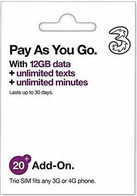 UK Three Europe Prepaid SIM 12 GB+3000 min talk in 50+ Countries for 30 days