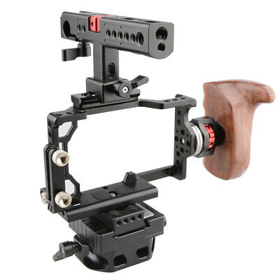 US CAMVATE Right Camera Cage Kit w/QR Baseplate Wood Grip ARRI Rosette for Sony