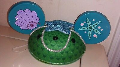 Disney Parks The Little Mermaid Ariel Mickey Mouse Ears Cap Scales Pearls-Used