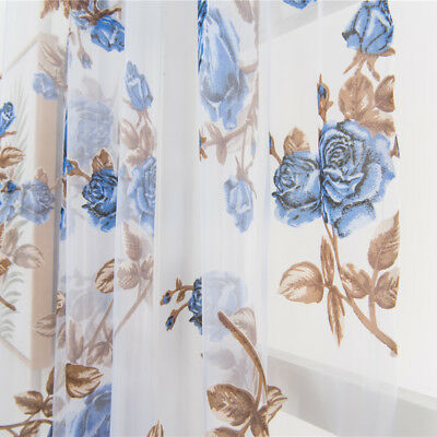 For Kitchen Bathroom Living Room Window Roman Curtain Floral Sheer Voile Valance