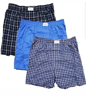 Tommy Hilfiger Mens 3-Pack Cotton Woven Boxers SIZE SMALL (28-30) 100% COTTON