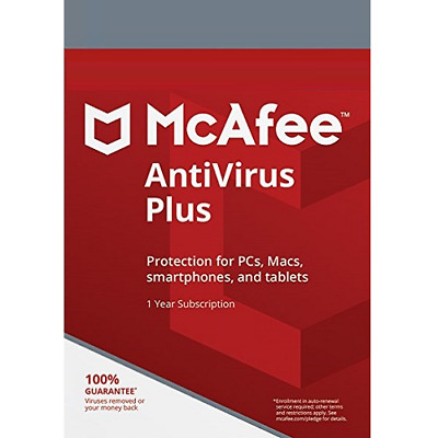 McAfee Antivrus Plus 2019 1 Year 1 Device for Windows Mac iOS Android Global Key