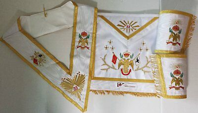 Masonic Rose Croix SCOTTISH RITE 33rd Degree Apron Set (Wing Down)