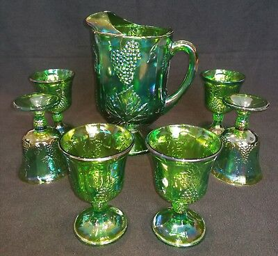 VINTAGE GREEN CARNIVAL GLASS PITCHER WITH x6 GOBLETS
