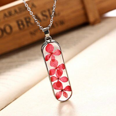 New Natural Real Dried Flower Resin Glass Pendant Necklace Women Jewelry Gift