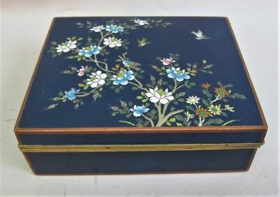 Fine MEIJI-ERA JAPANESE Cloisonne Box  Blue w/ Flowers  c. 1900   antique