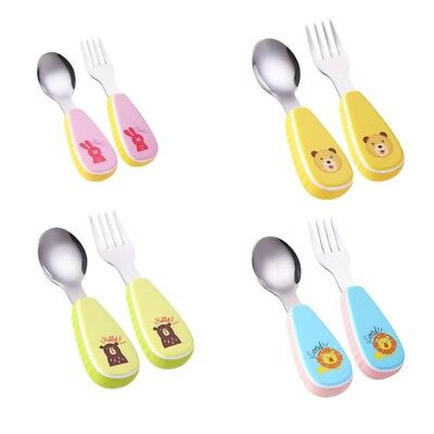 Baby Fork Spoon Infant Utensils Feeding Training Child Tableware Set 2 Pack 2018