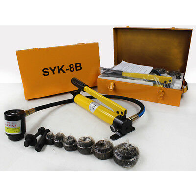 10 Ton 6 Dies Hydraulic Knockout Punch Driver Kit Hand Pump Hole Tool Metal Case