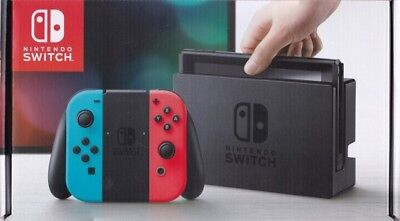 Nintendo Switch with Neon Blue and Neon Red Joy-Cons+FREE NEW POKEMON PLUSH TOY