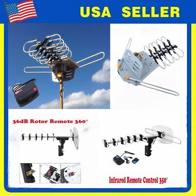 LOT 150 Miles HDTV Outdoor Amplified Antenna HD TV 36dB Rotor Remote 360 OY