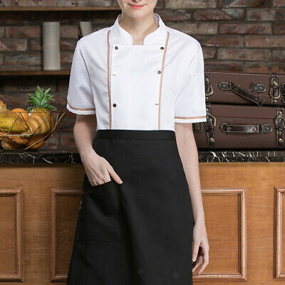 Prettyia Summer Unisex Chef Coat Short Sleeve Restaurant Uniform Waiter Comstume
