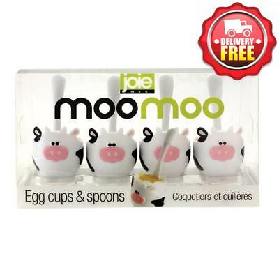 MSC Moo Moo Egg Cup and Spoon 4pcs Set | Matching Mini Plastic Spoons