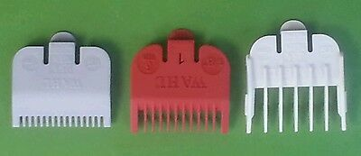 """Wahl Attachment Combs 3 Pack # 1/2 (1/16"""") AND # 1 (1/8"""") #1 1/2 (3/16) Guides"""