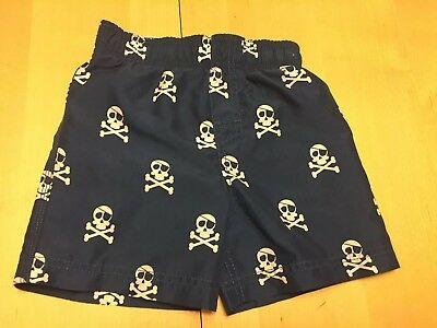 Crazy Eight Skull And Crossbones Swim Trunks, 18-24 Months, Cute Item!
