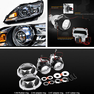 """2Pcs 3"""" Xenon HID Projector Lens with Silver Shrouds for H4 H7 LHD Car Headlight"""