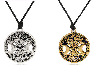 Triple Moon Goddess Crescent Moon Pentagram Talisman Protection Necklace Jewelry