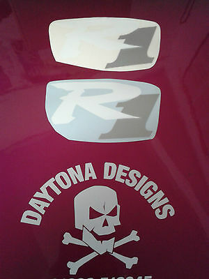 R1 Pair Custom White & Silver Seat Unit Decals Stickers