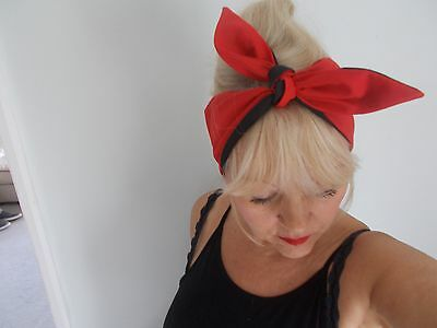 HEAD SCARF HAIR BAND ORANGE SELF TIE BOW ROCKABILLY SWING PIN UP 50s RETRO NEW