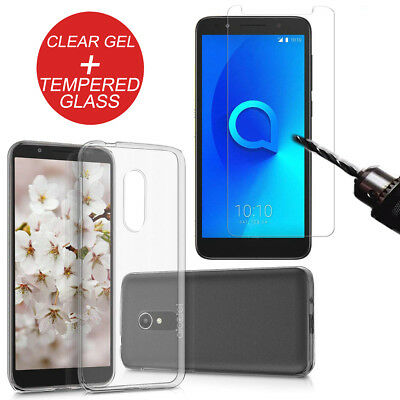 For Alcatel 1X Shockproof Ultra Clear TPU Gel Phone Case Cover + Tempered Glass