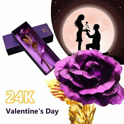24K Gold Foil Plated Rose Lover's Flower Valentine's Day Birthday Wedding GiftPS