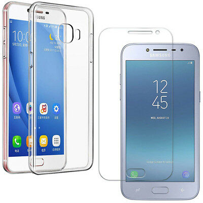 For Samsung Galaxy J2 Pro 2018 Clear Soft Gel Phone Case Cover + Tempered Glass