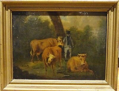 18th Century English School Farmer & Cattle Cows Landscape Antique Painting