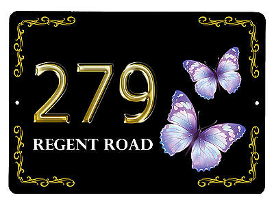 House,door name/number/road Butterfly Design Plaque/sign/plate 7x5inch Aluminium