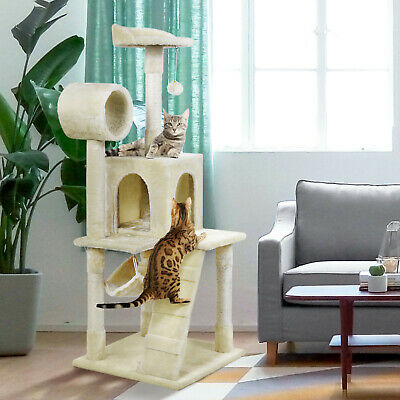 "52"" Cat Tree Scratching Tower Post Condo Pet Kitty House Bed Furniture Hammock"