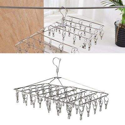 AU 35 Pegs Stainless Steel Dryer Rack Foldable Sock Clothes Airer Folding Hanger